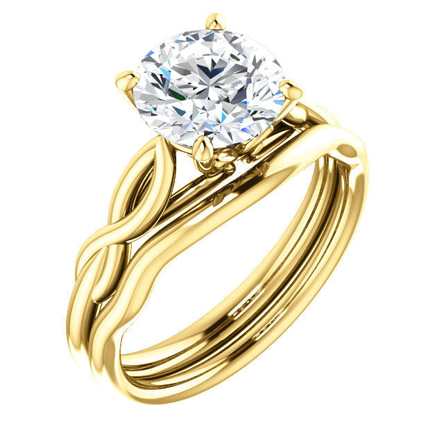 18K Yellow  8 mm Round Solitaire Engagement Ring Mounting* Quote does not include cost of center stone. *Prices are based on a standard melee diamond quality SI2-SI3, G-H. Exact pricing may be subject to change based on size, please contact an Ever&E
