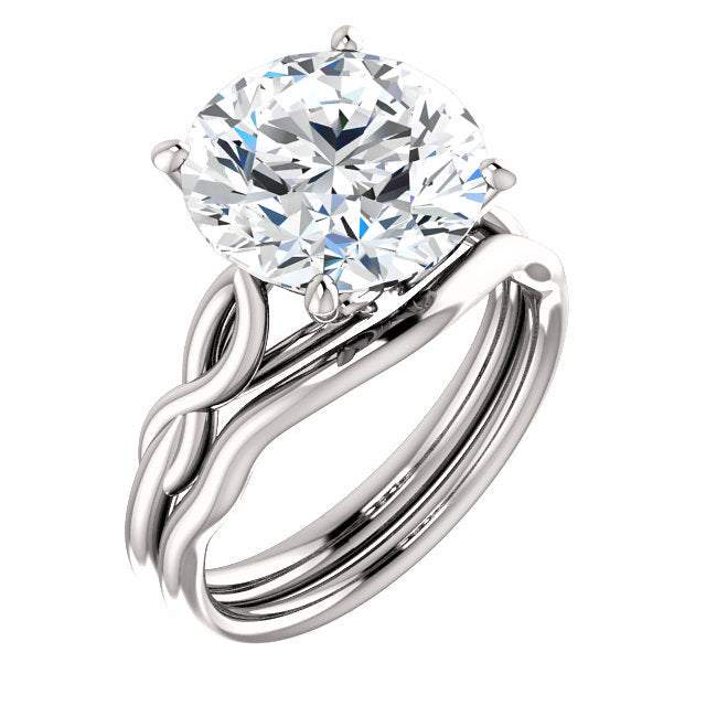 Platinum  11 mm Round Solitaire Engagement Ring Mounting* Quote does not include cost of center stone. *Prices are based on a standard melee diamond quality SI2-SI3, G-H. Exact pricing may be subject to change based on size, please contact an Ever&Ev