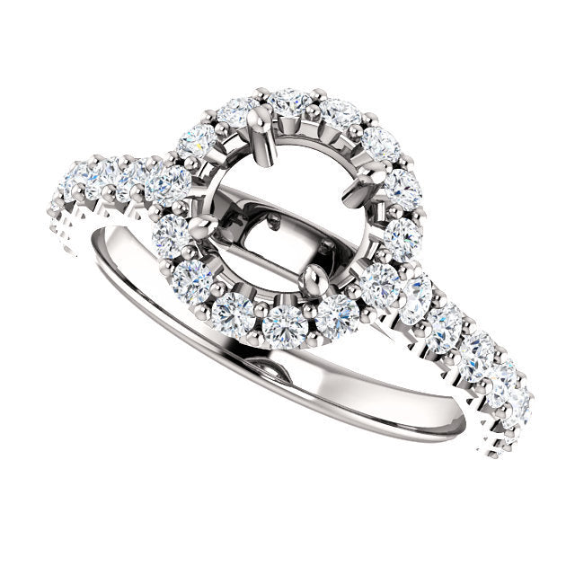 Platinum 6 mm Round 3/4 CTW Diamond Semi-Set Engagement Ring* Quote does not include cost of center stone. *Prices are based on a standard melee diamond quality SI2-SI3, G-H. Exact pricing may be subject to change based on size, please contact an Eve