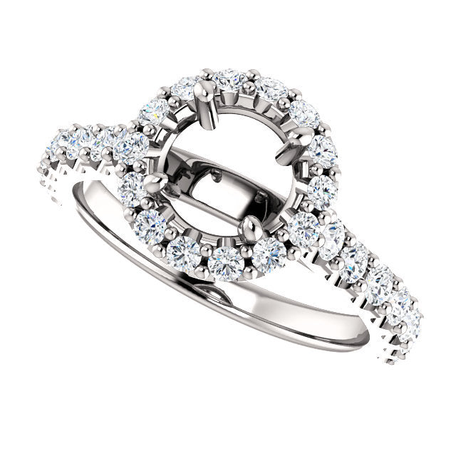 Platinum 6.5 mm Round 3/4 CTW Diamond Semi-Set Engagement Ring* Quote does not include cost of center stone. *Prices are based on a standard melee diamond quality SI2-SI3, G-H. Exact pricing may be subject to change based on size, please contact an E