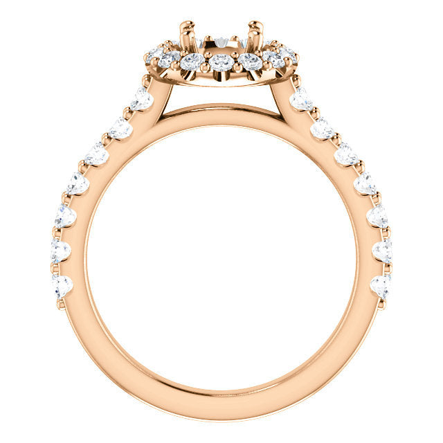 14K Rose 5.8 mm Round 3/4 CTW Diamond Semi-mount Engagement Ring* Quote does not include cost of center stone. *Prices are based on a standard melee diamond quality SI2-SI3, G-H. Exact pricing may be subject to change based on size, please contact an