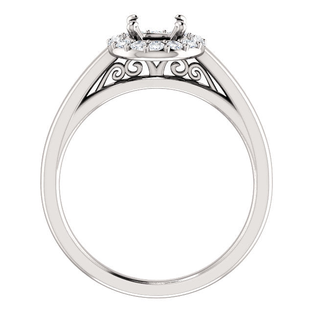 14K White 5.8 mm Round 1/6 CTW Diamond Semi-Set Halo-Style Engagement Ring* Quote does not include cost of center stone. *Prices are based on a standard melee diamond quality SI2-SI3, G-H. Exact pricing may be subject to change based on size, please