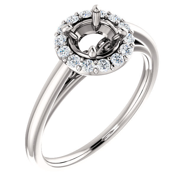 Platinum 5.8 mm Round 1/5 CTW Diamond Semi-Set Halo-Style Engagement Ring* Quote does not include cost of center stone. *Prices are based on a standard melee diamond quality SI2-SI3, G-H. Exact pricing may be subject to change based on size, please c
