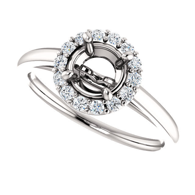 Platinum 6 mm Round1/5 CTW Diamond Semi-Set Halo-Style Engagement Ring* Quote does not include cost of center stone. *Prices are based on a standard melee diamond quality SI2-SI3, G-H. Exact pricing may be subject to change based on size, please cont