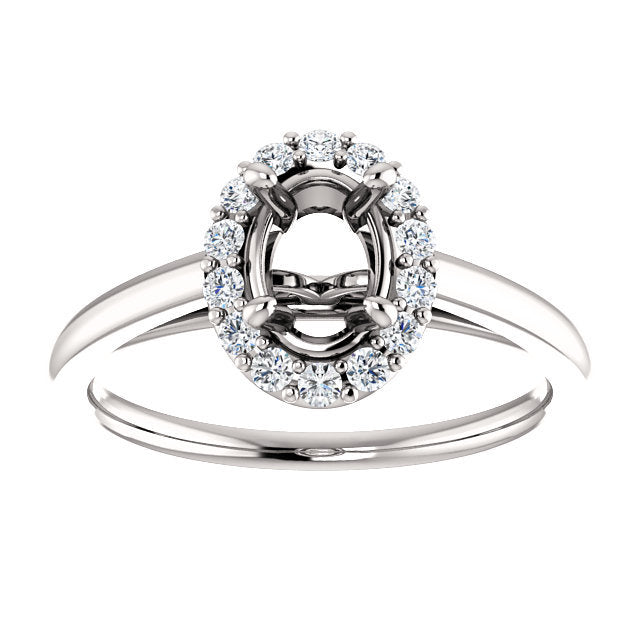 Platinum 7x5 Oval 1/5 CTW Diamond Semi-Set Halo-Style Engagement Ring* Quote does not include cost of center stone. *Prices are based on a standard melee diamond quality SI2-SI3, G-H. Exact pricing may be subject to change based on size, please conta