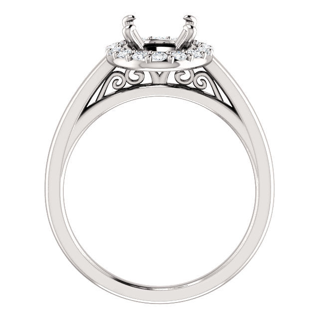 14K White 9x7 Oval 1/4 CTW Diamond Semi-Set Halo-Style Engagement Ring* Quote does not include cost of center stone. *Prices are based on a standard melee diamond quality SI2-SI3, G-H. Exact pricing may be subject to change based on size, please cont
