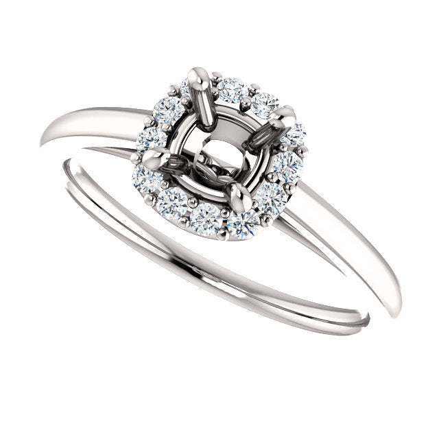 Platinum 5 mm Cushion 1/6 CTW Diamond Semi-Set Halo-Style Engagement Ring* Quote does not include cost of center stone. *Prices are based on a standard melee diamond quality SI2-SI3, G-H. Exact pricing may be subject to change based on size, please c