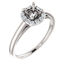 Load image into Gallery viewer, Platinum 5 mm Cushion 1/6 CTW Diamond Semi-Set Halo-Style Engagement Ring* Quote does not include cost of center stone. *Prices are based on a standard melee diamond quality SI2-SI3, G-H. Exact pricing may be subject to change based on size, please c
