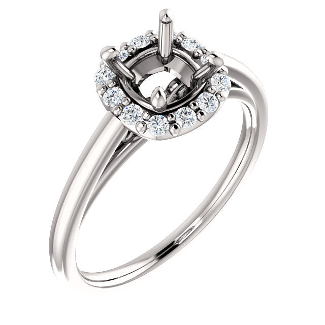Platinum 6 mm Cushion 1/5 CTW Diamond Semi-Set Halo-Style Engagement Ring* Quote does not include cost of center stone. *Prices are based on a standard melee diamond quality SI2-SI3, G-H. Exact pricing may be subject to change based on size, please c