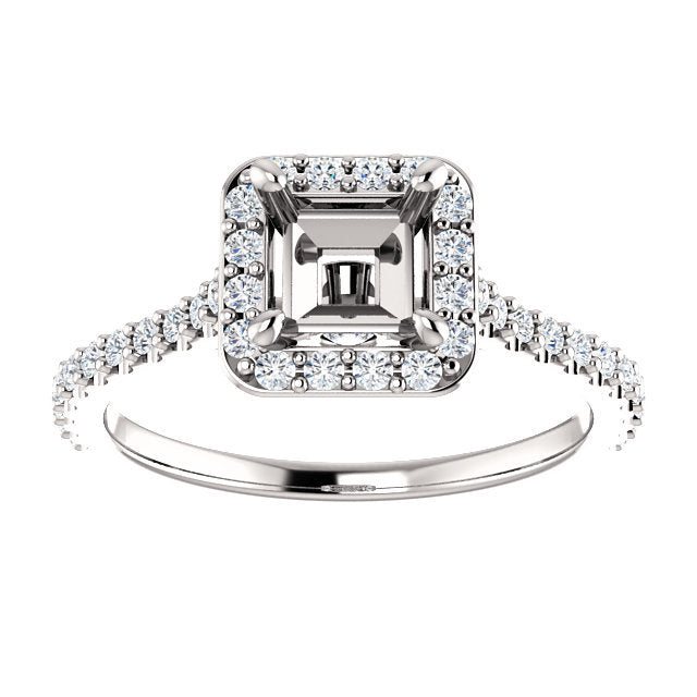 14K White 5x5 mm Square 3/8 CTW Semi-Set Engagement Ring* Quote does not include cost of center stone. *Prices are based on a standard melee diamond quality SI2-SI3, G-H. Exact pricing may be subject to change based on size, please contact an Ever&Ev