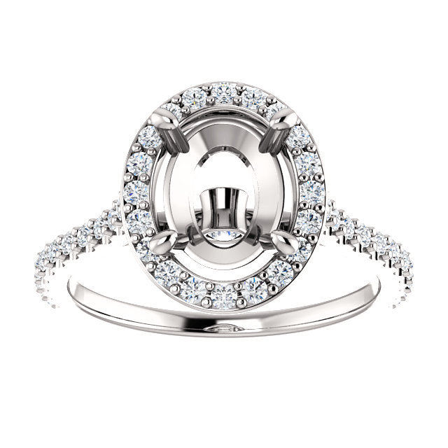 Platinum 9x7 mm Oval 3/8 CTW Semi-Set Engagement Ring* Quote does not include cost of center stone. *Prices are based on a standard melee diamond quality SI2-SI3, G-H. Exact pricing may be subject to change based on size, please contact an Ever&Ever