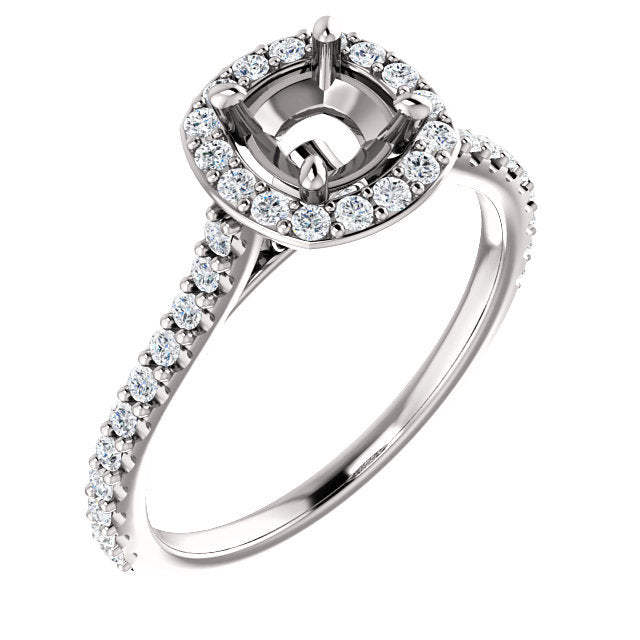 Platinum 5x5 mm Cushion 3/8 CTW Semi-Set Engagement Ring* Quote does not include cost of center stone. *Prices are based on a standard melee diamond quality SI2-SI3, G-H. Exact pricing may be subject to change based on size, please contact an Ever&Ev