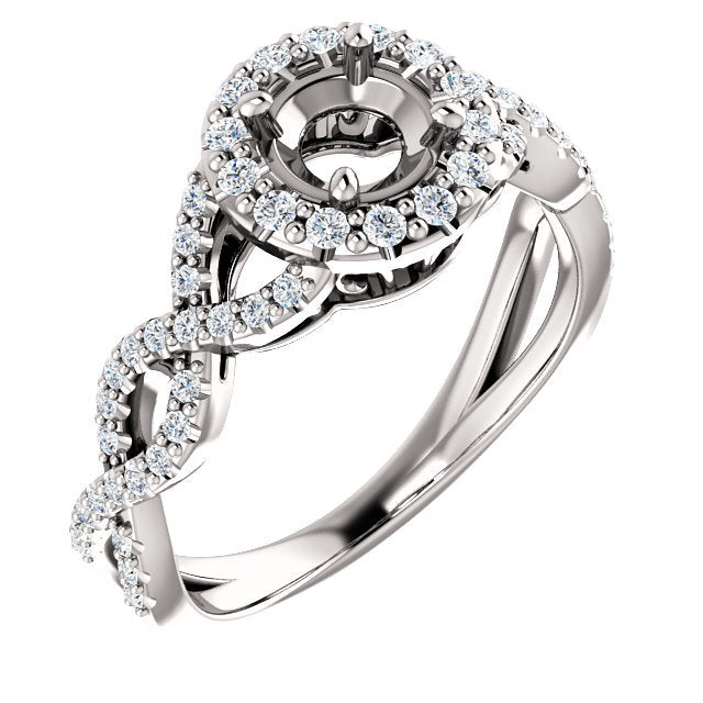 14K White 5.2 mm Round 3/8 CTW Diamond Semi-Set Infinity-Inspired Halo-Style Engagement Ring     * Quote does not include cost of center stone. *Prices are based on a standard melee diamond quality SI2-SI3, G-H. Exact pricing may be subject to change