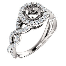 Load image into Gallery viewer, Platinum 5.5 mm Round 3/8 CTW Diamond Semi-Set Infinity-Inspired Halo-Style Engagement Ring     * Quote does not include cost of center stone. *Prices are based on a standard melee diamond quality SI2-SI3, G-H. Exact pricing may be subject to change