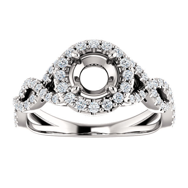 Platinum 5.5 mm Round 3/8 CTW Diamond Semi-Set Infinity-Inspired Halo-Style Engagement Ring     * Quote does not include cost of center stone. *Prices are based on a standard melee diamond quality SI2-SI3, G-H. Exact pricing may be subject to change