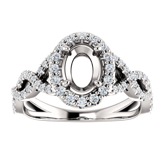 14K White 7x5 mm Oval 3/8 CTW Diamond Semi-Set Infinity-Inspired Halo-Style Engagement Ring     * Quote does not include cost of center stone. *Prices are based on a standard melee diamond quality SI2-SI3, G-H. Exact pricing may be subject to change