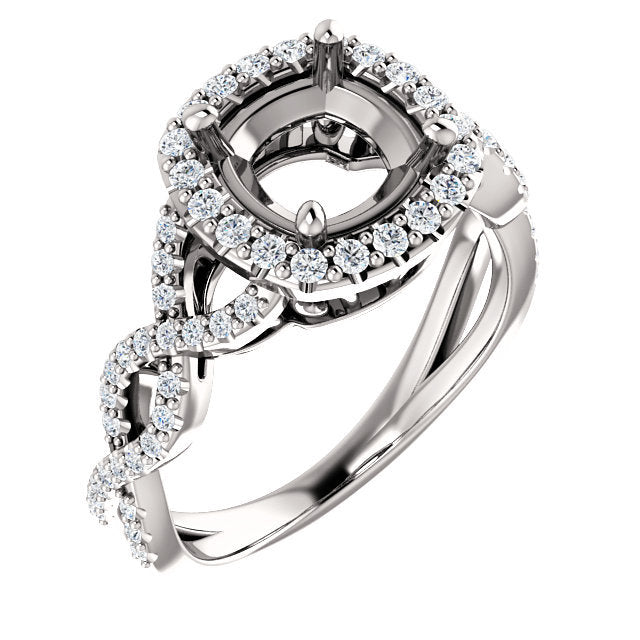 Platinum 7x7 mm Cushion 3/8 CTW Diamond Semi-Set Infinity-Inspired Halo-Style Engagement Ring     * Quote does not include cost of center stone. *Prices are based on a standard melee diamond quality SI2-SI3, G-H. Exact pricing may be subject to chang