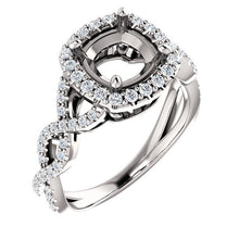 Load image into Gallery viewer, Platinum 7x7 mm Cushion 3/8 CTW Diamond Semi-Set Infinity-Inspired Halo-Style Engagement Ring     * Quote does not include cost of center stone. *Prices are based on a standard melee diamond quality SI2-SI3, G-H. Exact pricing may be subject to chang