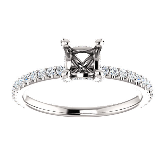 Platinum 4x4 mm Square 1/3 CTW Diamond Semi-Set Engagement Ring  * Quote does not include cost of center stone. *Prices are based on a standard melee diamond quality SI2-SI3, G-H. Exact pricing may be subject to change based on size, please contact a