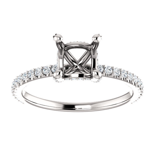 14K White 5x5 mm Square 1/3 CTW Diamond Semi-Set Engagement Ring  * Quote does not include cost of center stone. *Prices are based on a standard melee diamond quality SI2-SI3, G-H. Exact pricing may be subject to change based on size, please contact
