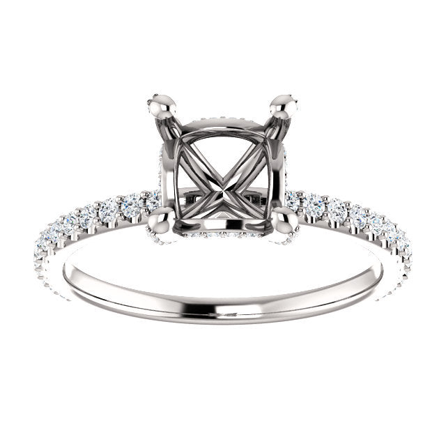 Platinum 5.5x5.5 mm Square 1/3 CTW Diamond Semi-Set Engagement Ring  * Quote does not include cost of center stone. *Prices are based on a standard melee diamond quality SI2-SI3, G-H. Exact pricing may be subject to change based on size, please conta