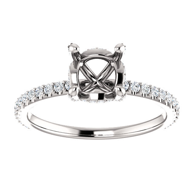 Platinum 6.5 mm Round 1/3 CTW Diamond Semi-Set Engagement Ring   * Quote does not include cost of center stone. *Prices are based on a standard melee diamond quality SI2-SI3, G-H. Exact pricing may be subject to change based on size, please contact a