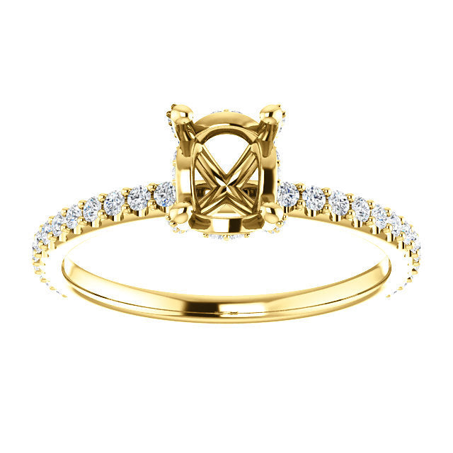 14K Yellow 7x5 mm Oval 1/3 CTW Diamond Semi-Set Engagement Ring   * Quote does not include cost of center stone. *Prices are based on a standard melee diamond quality SI2-SI3, G-H. Exact pricing may be subject to change based on size, please contact