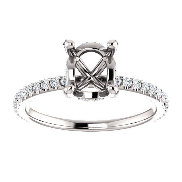 Platinum 8x6 mm Oval 1/3 CTW Diamond Semi-Set Engagement Ring   * Quote does not include cost of center stone. *Prices are based on a standard melee diamond quality SI2-SI3, G-H. Exact pricing may be subject to change based on size, please contact an