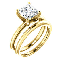 Load image into Gallery viewer, 14K Yellow  6.5 mm Square Solitaire Engagement Ring Mounting* Quote does not include cost of center stone. *Prices are based on a standard melee diamond quality SI2-SI3, G-H. Exact pricing may be subject to change based on size, please contact an Eve