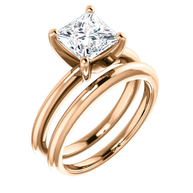 18K Rose  6.5 mm Square Solitaire Engagement Ring Mounting* Quote does not include cost of center stone. *Prices are based on a standard melee diamond quality SI2-SI3, G-H. Exact pricing may be subject to change based on size, please contact an Ever&