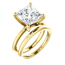 Load image into Gallery viewer, 14K Yellow  9 mm Square Solitaire Engagement Ring Mounting* Quote does not include cost of center stone. *Prices are based on a standard melee diamond quality SI2-SI3, G-H. Exact pricing may be subject to change based on size, please contact an Ever&