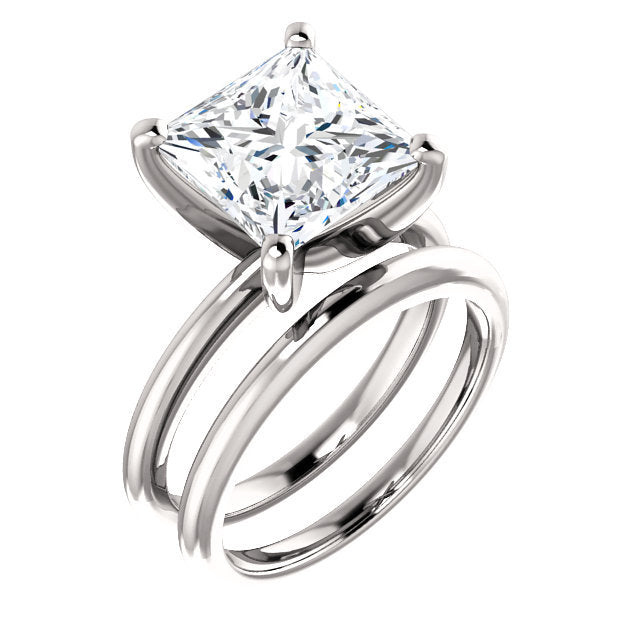 Platinum  9 mm Square Solitaire Engagement Ring Mounting* Quote does not include cost of center stone. *Prices are based on a standard melee diamond quality SI2-SI3, G-H. Exact pricing may be subject to change based on size, please contact an Ever&Ev