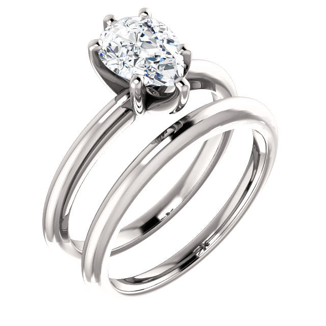 Platinum  8x6 mm Pear Solitaire Engagement Ring Mounting* Quote does not include cost of center stone. *Prices are based on a standard melee diamond quality SI2-SI3, G-H. Exact pricing may be subject to change based on size, please contact an Ever&Ev
