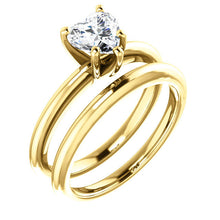 Load image into Gallery viewer, 14K Yellow  6x6 mm Heart Solitaire Engagement Ring Mounting* Quote does not include cost of center stone. *Prices are based on a standard melee diamond quality SI2-SI3, G-H. Exact pricing may be subject to change based on size, please contact an Ever