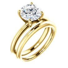 Load image into Gallery viewer, 14K Yellow  8 mm Round Solitaire Engagement Ring Mounting* Quote does not include cost of center stone. *Prices are based on a standard melee diamond quality SI2-SI3, G-H. Exact pricing may be subject to change based on size, please contact an Ever&E
