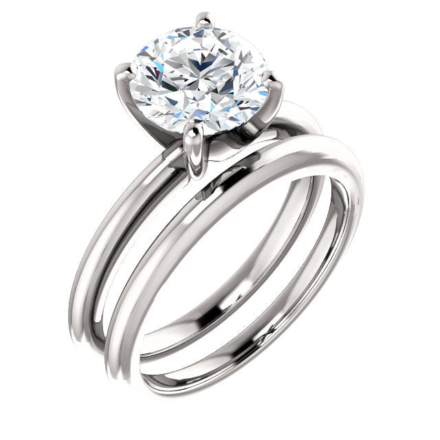 Platinum  8 mm Round Solitaire Engagement Ring Mounting* Quote does not include cost of center stone. *Prices are based on a standard melee diamond quality SI2-SI3, G-H. Exact pricing may be subject to change based on size, please contact an Ever&Eve