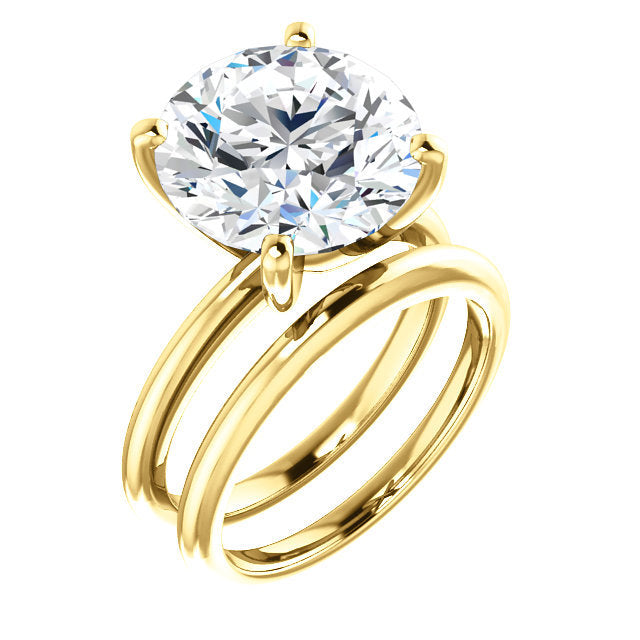 18K Yellow  12 mm Round Solitaire Engagement Ring Mounting* Quote does not include cost of center stone. *Prices are based on a standard melee diamond quality SI2-SI3, G-H. Exact pricing may be subject to change based on size, please contact an Ever&