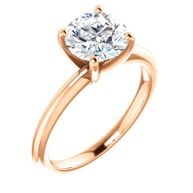 18K Rose  14 mm Round Solitaire Engagement Ring Mounting* Quote does not include cost of center stone. *Prices are based on a standard melee diamond quality SI2-SI3, G-H. Exact pricing may be subject to change based on size, please contact an Ever&Ev