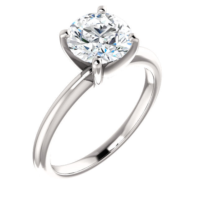 14K White  15 mm Round Solitaire Engagement Ring Mounting* Quote does not include cost of center stone. *Prices are based on a standard melee diamond quality SI2-SI3, G-H. Exact pricing may be subject to change based on size, please contact an Ever&E