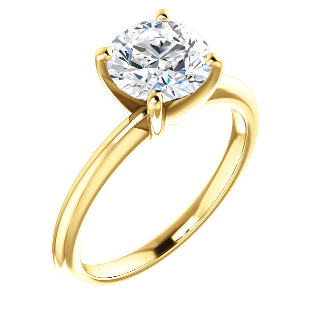 14K Yellow  15 mm Round Solitaire Engagement Ring Mounting* Quote does not include cost of center stone. *Prices are based on a standard melee diamond quality SI2-SI3, G-H. Exact pricing may be subject to change based on size, please contact an Ever&