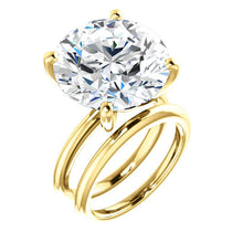 Load image into Gallery viewer, 14K Yellow  15 mm Round Solitaire Engagement Ring Mounting* Quote does not include cost of center stone. *Prices are based on a standard melee diamond quality SI2-SI3, G-H. Exact pricing may be subject to change based on size, please contact an Ever&