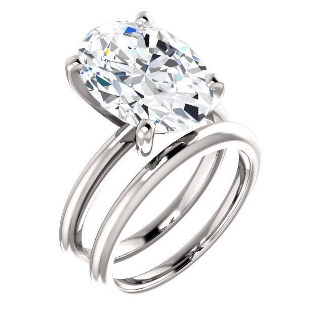Platinum  14x10 mm Oval Solitaire Engagement Ring Mounting* Quote does not include cost of center stone. *Prices are based on a standard melee diamond quality SI2-SI3, G-H. Exact pricing may be subject to change based on size, please contact an Ever&