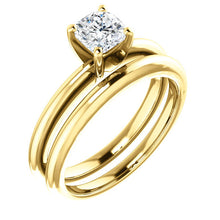 Load image into Gallery viewer, 18K Yellow  5 mm Cushion Solitaire Engagement Ring Mounting* Quote does not include cost of center stone. *Prices are based on a standard melee diamond quality SI2-SI3, G-H. Exact pricing may be subject to change based on size, please contact an Ever