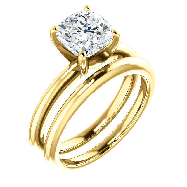 18K Yellow  7 mm Cushion Solitaire Engagement Ring Mounting* Quote does not include cost of center stone. *Prices are based on a standard melee diamond quality SI2-SI3, G-H. Exact pricing may be subject to change based on size, please contact an Ever