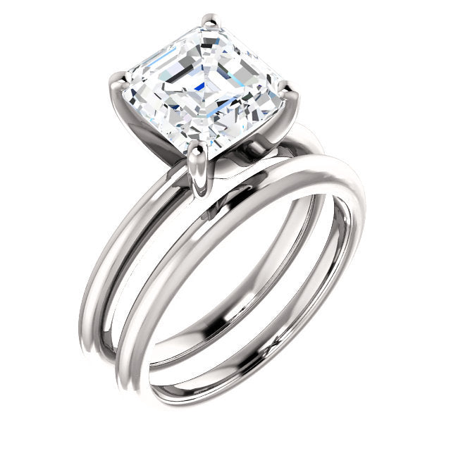 14K White  8 mm Asscher Solitaire Engagement Ring Mounting* Quote does not include cost of center stone. *Prices are based on a standard melee diamond quality SI2-SI3, G-H. Exact pricing may be subject to change based on size, please contact an Ever&