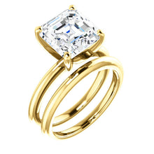 Load image into Gallery viewer, 18K Yellow  9 mm Asscher Solitaire Engagement Ring Mounting* Quote does not include cost of center stone. *Prices are based on a standard melee diamond quality SI2-SI3, G-H. Exact pricing may be subject to change based on size, please contact an Ever