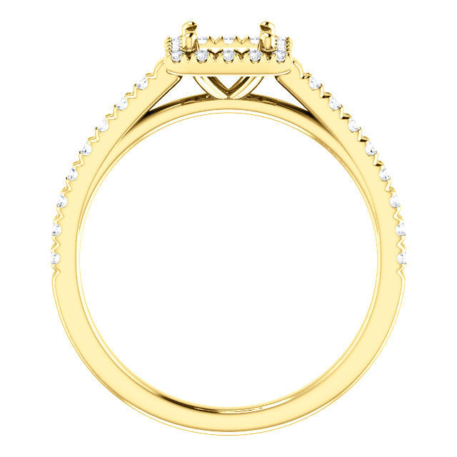 14K Yellow 4.5x4.5 mm Square 1/4 CTW Diamond Semi-Set French-Set Engagement Ring* Quote does not include cost of center stone. *Prices are based on a standard melee diamond quality SI2-SI3, G-H. Exact pricing may be subject to change based on size, p