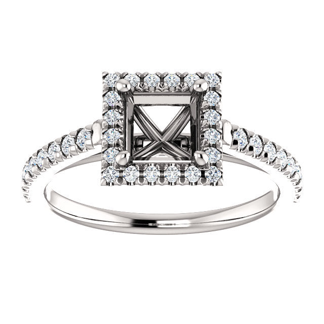 Platinum 5x5 mm Square 1/4 CTW Diamond Semi-Set French-Set Engagement Ring* Quote does not include cost of center stone. *Prices are based on a standard melee diamond quality SI2-SI3, G-H. Exact pricing may be subject to change based on size, please