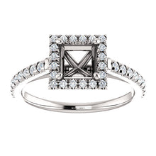 Load image into Gallery viewer, Platinum 5x5 mm Square 1/4 CTW Diamond Semi-Set French-Set Engagement Ring* Quote does not include cost of center stone. *Prices are based on a standard melee diamond quality SI2-SI3, G-H. Exact pricing may be subject to change based on size, please