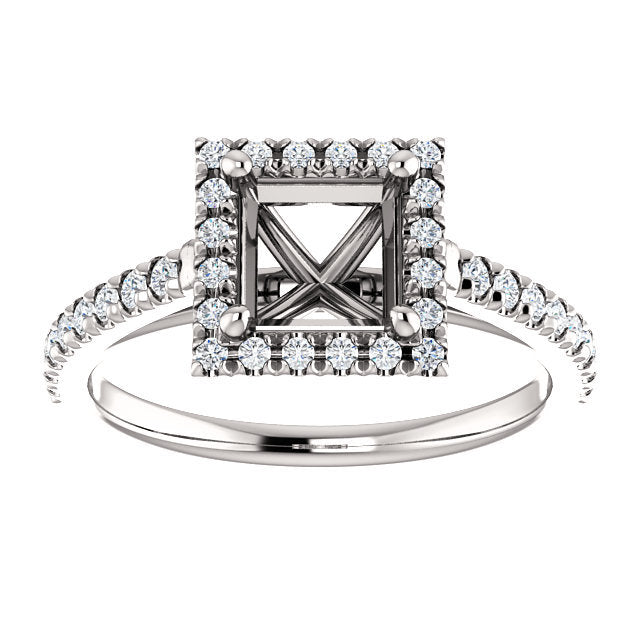 Platinum 5.5x5.5 mm Square 1/4 CTW Diamond Semi-Set French-Set Engagement Ring* Quote does not include cost of center stone. *Prices are based on a standard melee diamond quality SI2-SI3, G-H. Exact pricing may be subject to change based on size, ple